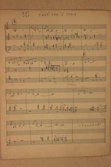 "An original manuscript of ""Take the 'A' Train"" in Billy Strayhorn's hand"