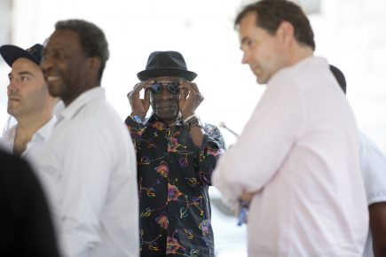 Tony Allen (center) prepares for liftoff at the 2018 Newport Jazz Festival as Herlin Riley (left) and others watch the onstage action