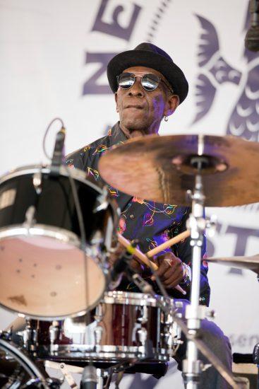 Tony Allen performing at the 2018 Newport Jazz Festival (photo: Alan Nahigian)