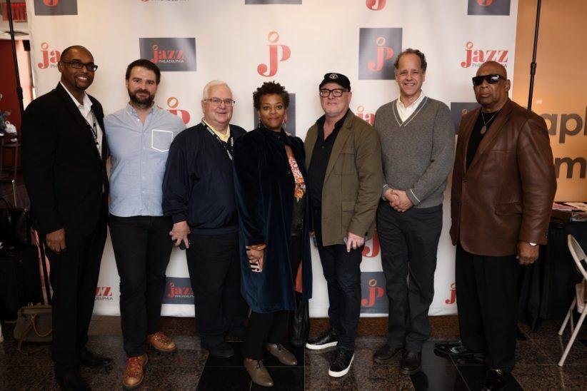 (l to r) Gerald Veasley, Mark Christman, John Ernesto, Janis Burley Wilson, Michael Kline, Don Lucoff and Warren Oree after panel on curating jazz at 2018 Jazz Philadelphia Summit