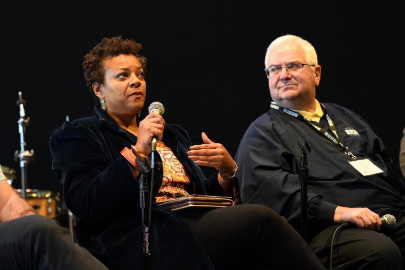 Janis Burley Wilson (Pittsburgh International Jazz Festival) and John Ernesto (Berks Jazz Festival) discuss the economic impact of their events on their respective communities during panel at Jazz Philadelphia Summit