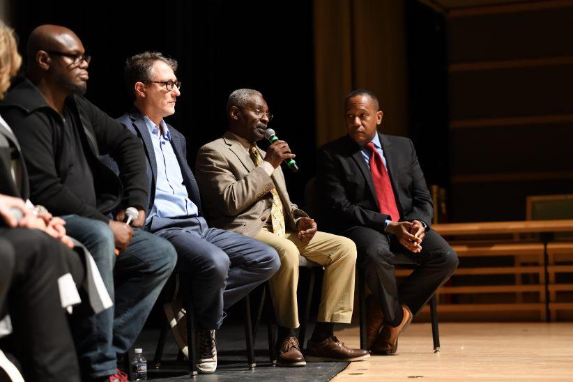 Michael Ricci, Lovett Hines and Aaron Flagge at panel on jazz education at Jazz Philadelphia Summit