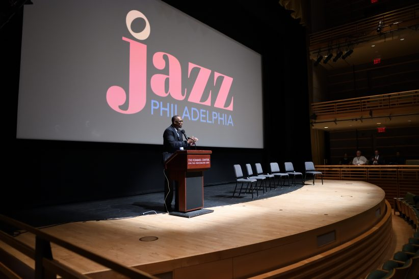 Jazz Philadelphia president Gerald Veasley gives opening remarks at Jazz Philadelphia Summit on November 2, 2018