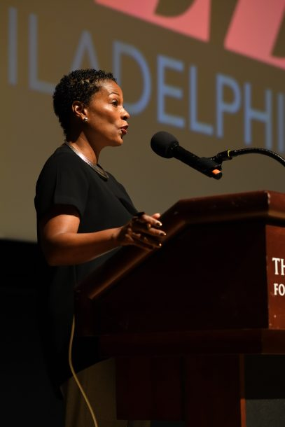 Kelly Lee from the Office of Cultural Affairs for the City of Philadelphia addresses audience at the 2018 Jazz Philadelphia Summit