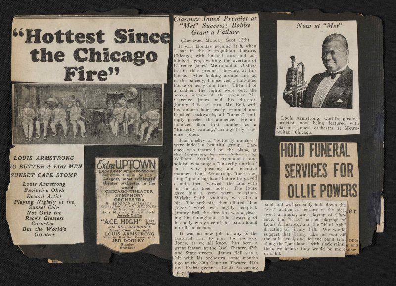 A page from one of Louis Armstrong's scrapbooks, containing newspaper clippings from 1927 and 1928 (courtesy of the Louis Armstrong House Museum Collections)