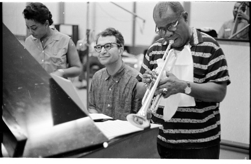 "Carmen McRae, Dave Brubeck, and Louis Armstrong recording ""The Real Ambassadors"" in 1961 (photo: Jack Bradley)"