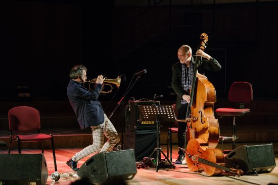Paolo Fresu (left) and Lars Danielsson at the 2018 JazzMi festival in Milan, Italy