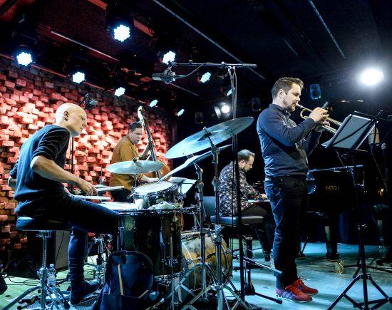Ilmiliekki Quartet—left to right: Olavi Louhivuori, Antti Lötjönen, Tuomo Prättälä, Verneri Pohjola—at the 2018 We Jazz festival in Helsinki, Finland