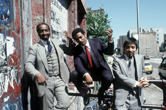 William Parker, Billy Bang, and Zen Matsuura outside Neither/Nor, New York, June 1986