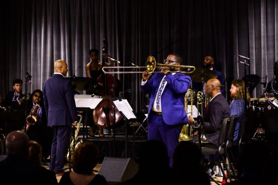 Adonis Rose, TJ Norris (on trombone) and the New Orleans Jazz Orchestra (photo by Katie Sikora)