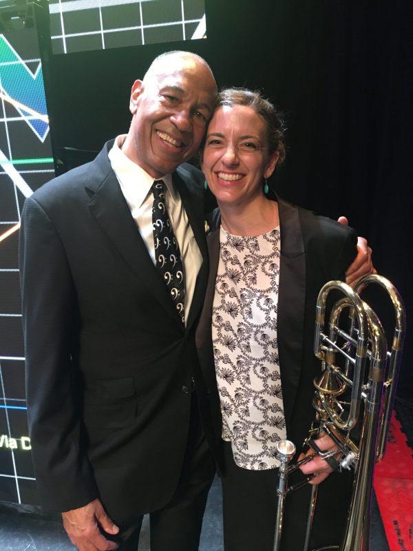 Bassist/bandleader John Clayton and trombonist Jennifer Wharton on the Jazz Cruise (photo by Tuke Photography)