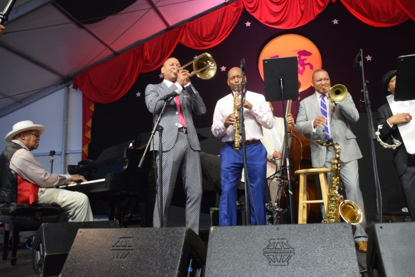 Ellis, Delfeayo, Branford, and Wynton Marsalis at the 2019 New Orleans Jazz & Heritage Festival