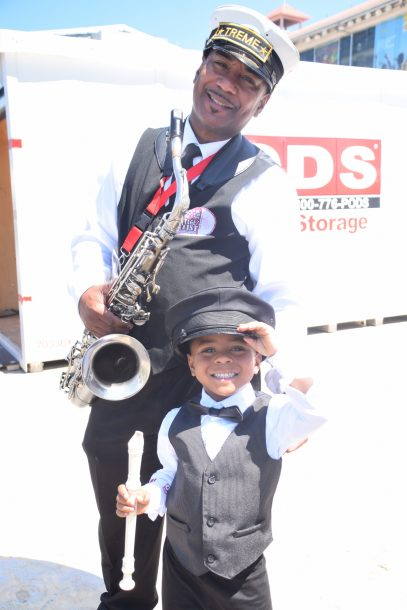 Young and old members of the Treme Brass Band at the 2019 New Orleans Jazz & Heritage Festival