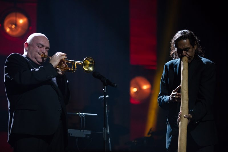 James Morrison and William Barton at the International Jazz Day All-Star Global Concert, Melbourne, Australia, April 30, 2019