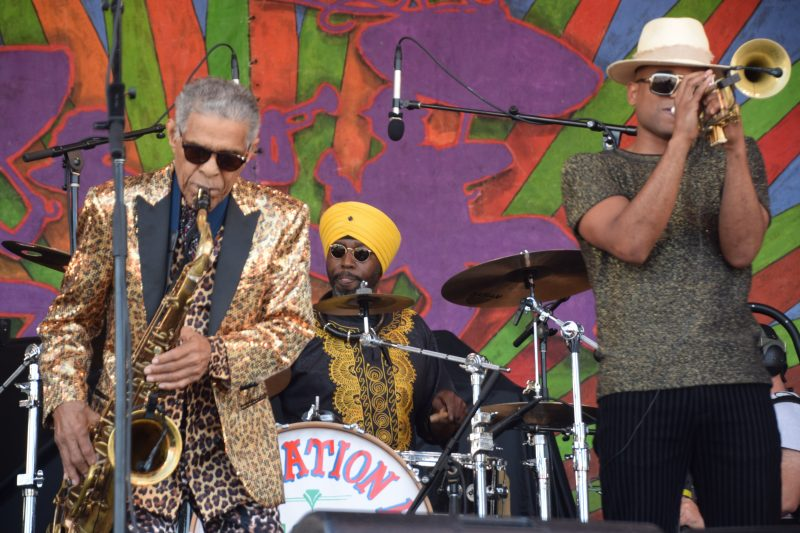 Left to right: Charlie Gabriel, Walter Harris, and Branden Lewis of the Preservation Hall Jazz Band at the 50th New Orleans Jazz & Heritage Festival