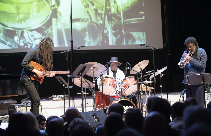 Brandon Ross, Andrew Cyrille, and Wadada Leo Smith at the 24th annual Vision Festival