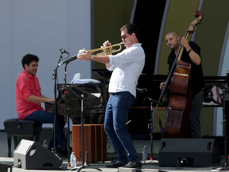 Harold López-Nussa, Mayquel Gonzales, and Luques Curtis at the 2019 Playboy Jazz Festival