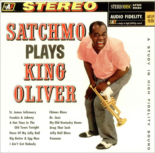 The front cover of Louis Armstrong's Satchmo Plays King Oliver