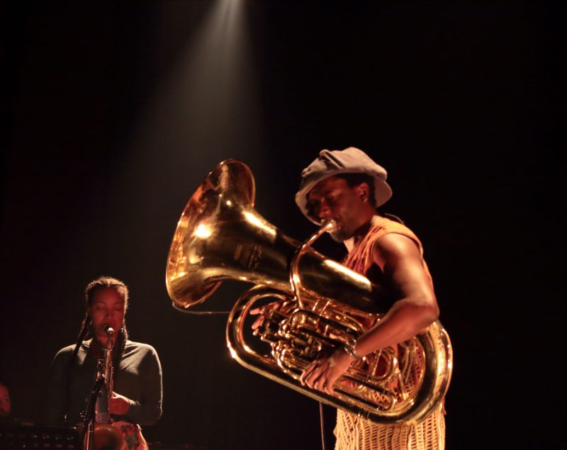 Nubya Garcia (left) and Theon Cross at the 2019 Montreal Jazz Festival