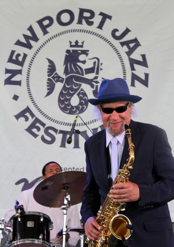 Gary Bartz (left) and Nasheet Waits at the Newport Jazz Festival, August 2, 2019