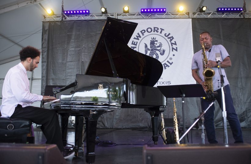 David Virelles (left) and Ravi Coltrane at the Newport Jazz Festival, August 3, 2019