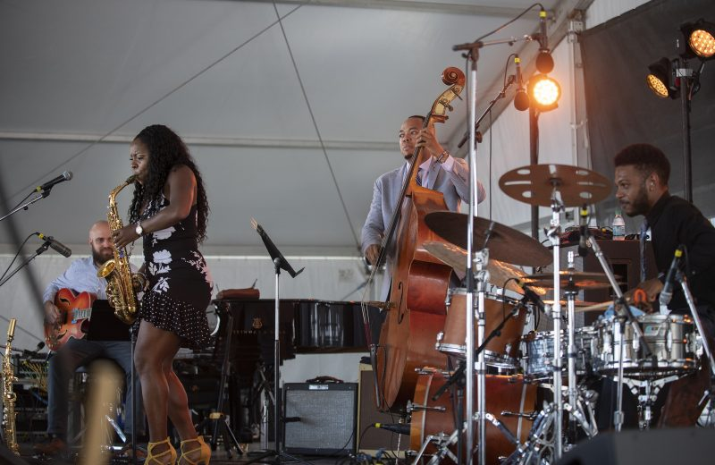 Andrew Renfroe, Tia Fuller, Eric Wheeler, and Mark Whitfield, Jr. at the 2019 Newport Jazz Festival