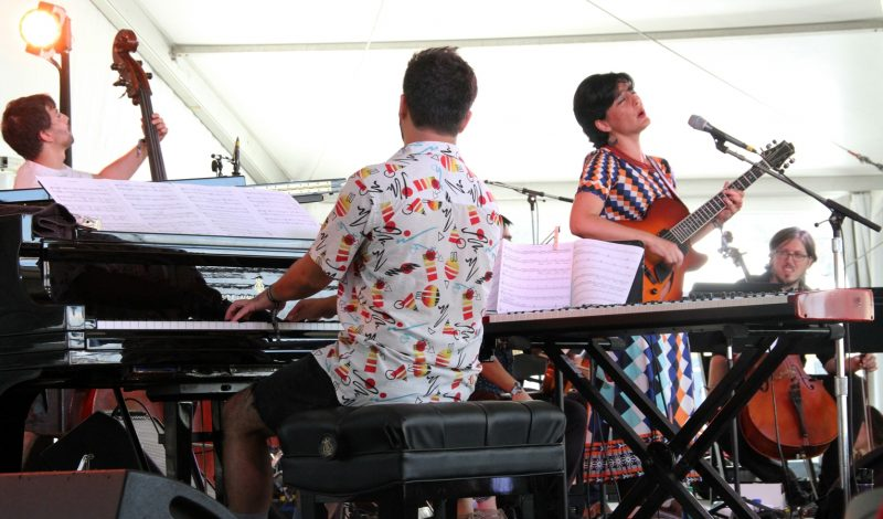 Camila Meza (second from right) and the Nectar Orchestra at the Newport Jazz Festival, August 4, 2019
