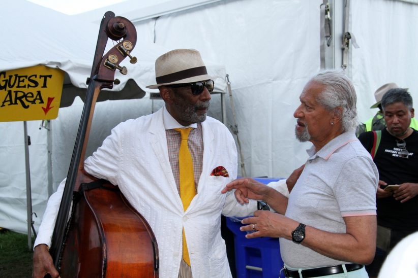 Ron Carter (left) and Gary Bartz backstage at the Newport Jazz Festival, August 3, 2019