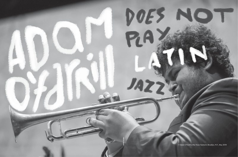 "The opening two-page spread to ""Adam O'Farrill Does Not Play Latin Jazz,"" which earned a Folio: Eddie & Ozzie Award nod. (design: Eoin Laramee)"