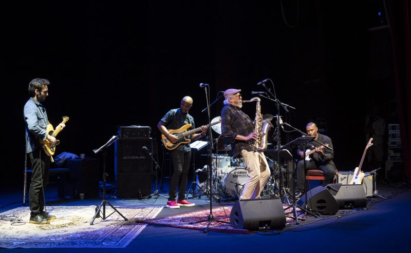 L to R: Julian Lage, Reuben Rogers, Charles Lloyd, Marvin Sewell. (photo: Tim Dickeson)