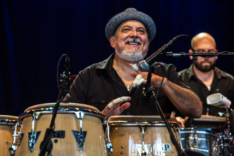 Poncho Sanchez and His Latin Jazz Band performs at the 50th Anniversary Concord Jazz Festival at the Concord Pavilion in Concord, California on August 3, 2019. (photo: Chris Tuite)