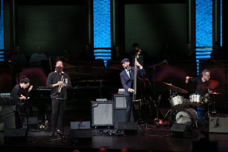 Fabian Almazan, Avishai Cohen, Barak Mori, and Ziv Ravitz at the ECM 50 concert