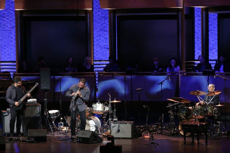 Matthew Garrison, Ravi Coltrane, and Jack DeJohnette at the ECM 50 concert