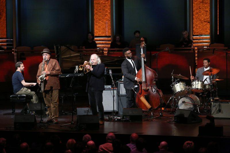 Giovanni Guidi, Joe Lovano, Enrico Rava, Dezron Douglas, and Nasheet Waits at the ECM 50 concert