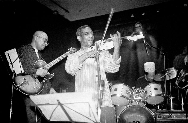 Left to right: Bern Nix, Billy Bang, and Warren Smith on the Knit stage, October 1994