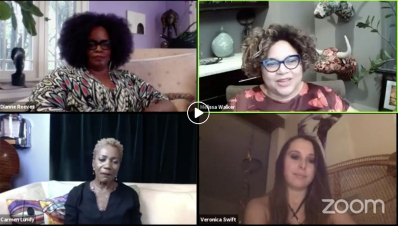 A Jazz House Kids Zoom session with singers Dianne Reeves, Melissa Walker, Carmen Lundy, and Veronica Swift