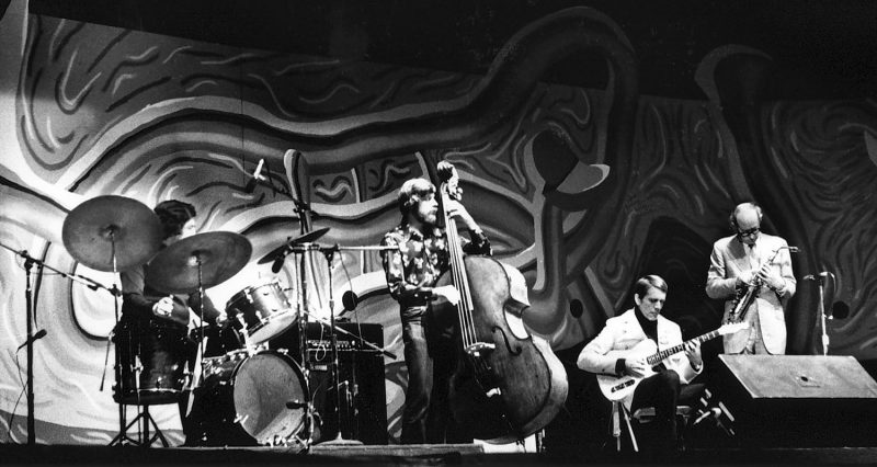 "The Paul Desmond ""Canadian Quartet"" at the 1976 Monterey Jazz Festival (L to R): Jerry Fuller, Don Thompson, Ed Bickert, and Desmond"