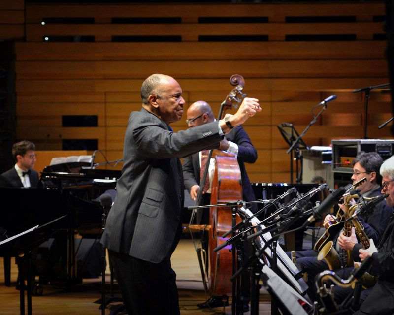 John Clayton conducts the Toronto Jazz Orchestra, Benny Green, and Christian McBride in performance of Oscar Peterson's Africa Suite, February 2020 (photo: Daniel Nawrocki)