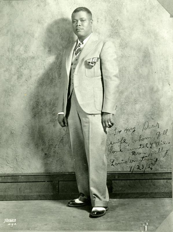 Louis Armstrong in a 1929 publicity photo; the signature, dated September 23, is to his wife Lil Hardin
