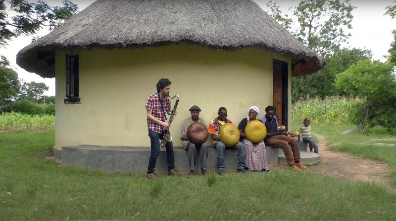 Oran Etkin and members of the Chigamba family in Zimbabwe
