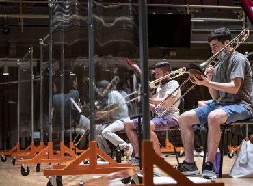 Trombones amid plexiglass (photo: Joseph V. Labolito/Temple University Photography)