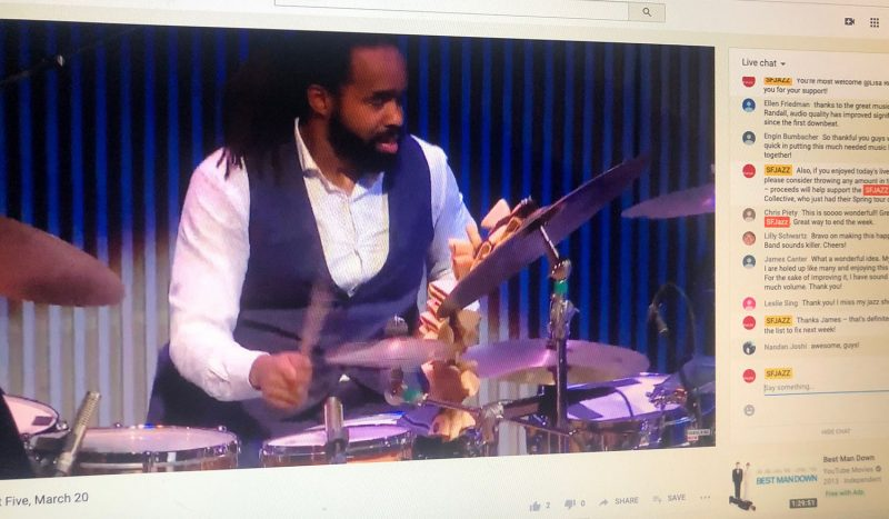 Obed Calvaire of the SFJAZZ Collective performs during SFJAZZ's Fridays at Five livestream. (Courtesy of SFJAZZ)