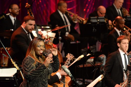 """Camille Thurman performing at """"The First Lady of Song"""" gala concert at Jazz at Lincoln Center in 2017 (photo by Frank Stewart)"""