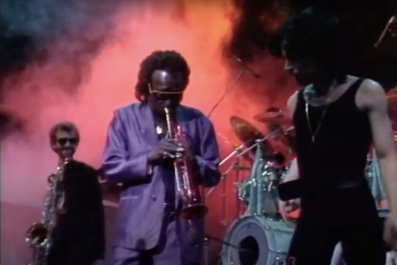 Miles Davis and Prince dance onstage at Paisley Park: Still from Sign o' the Times: New Year's Eve 1987 (photo: Courtesy of Warner Records)