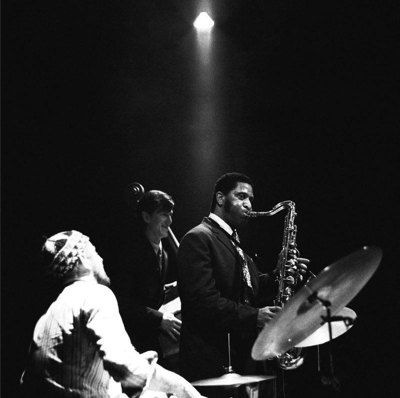L to R: Han Bennink, Ruud Jacobs, and Rollins, Arnhem, Netherlands, May 3, 1967 (photo: Toon Fey)