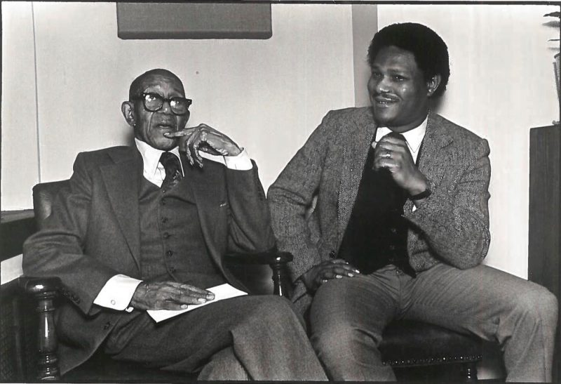 "Eubie Blake (L) with McCoy Tyner at his ""99th"" (actually 95th) birthday party, 1982 (photo: McCoy Tyner Archives)"