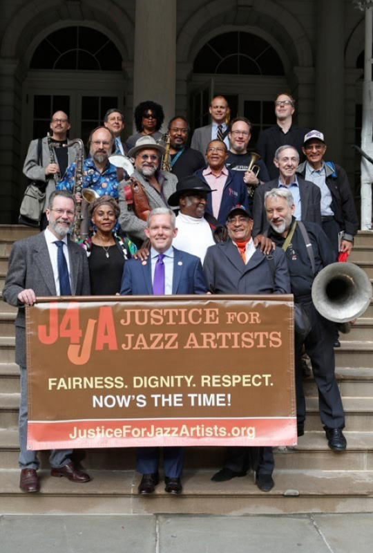 Members of Justice for Jazz Artists outside New York's City Hall