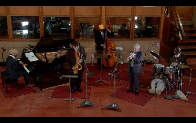 Joe Lovano, Ron Carter, and Don Sickler during the first episode of Live from Van Gelder Studio