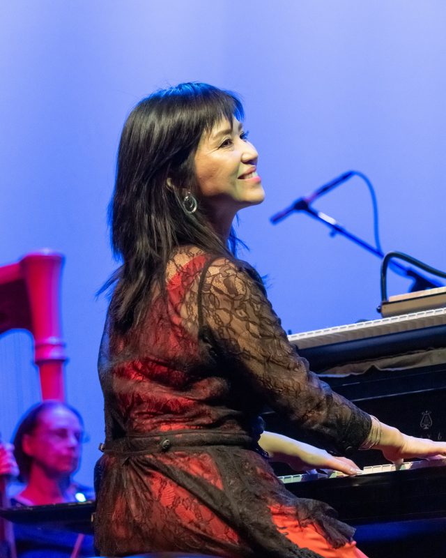 Keiko Matsui performing at the Berks Jazz Fest in Reading, Pa. (photo by Peter Boehi)