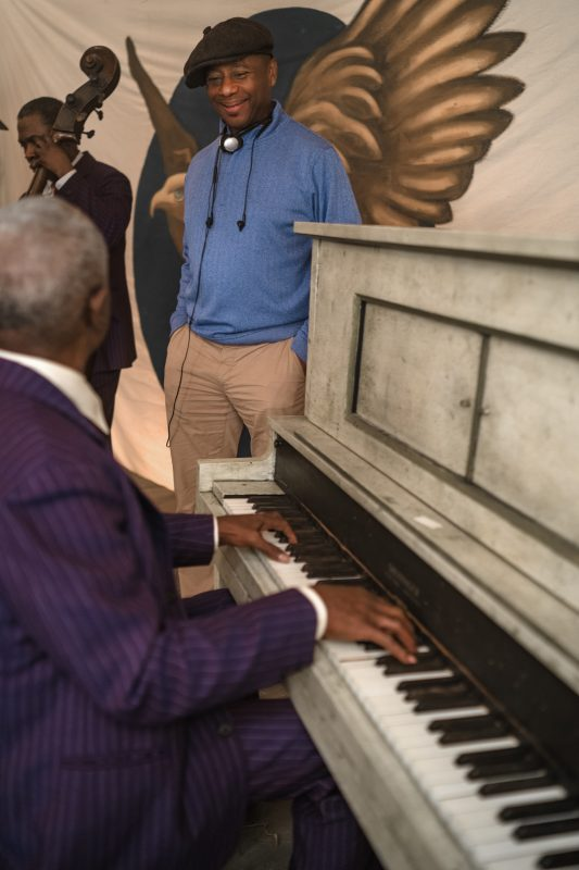 "Branford Marsalis with actor Glynn Turman, who played Toledo in ""Ma Rainey's Black Bottom"" (photo by David Lee/NETFLIX)"